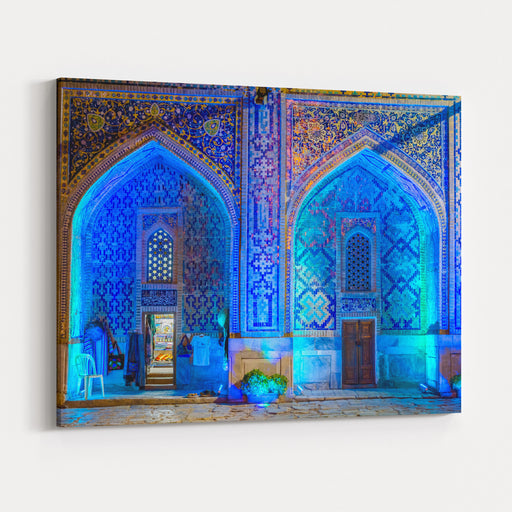 Shop In Lit Up Atrium Of Sher Dor Madrasah At Night, Registan, Samarkand, Uzbekistan Canvas Wall Art Print