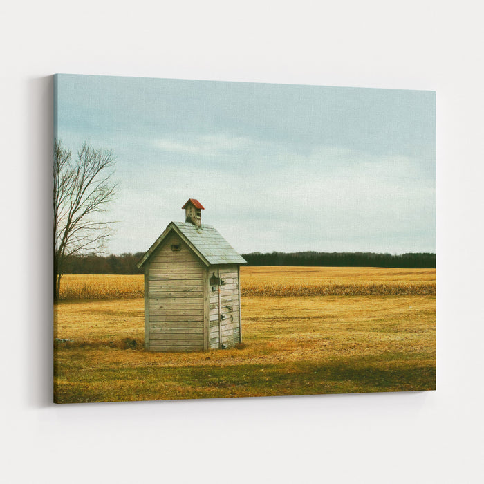 An Old Outhouse In The Middle Of An Autumn Field Canvas Wall Art Print