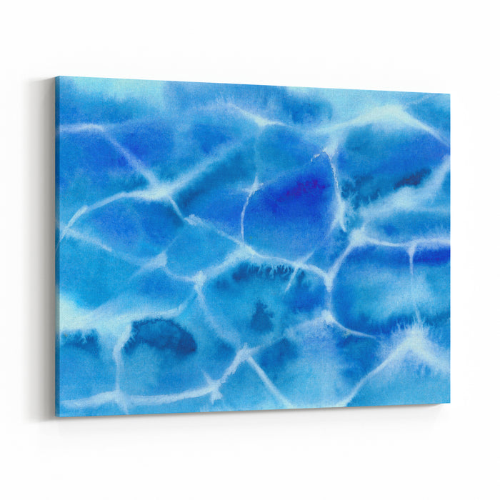 Pattern From Blue Sea Shallow Water Watercolor Painting Abstract Background, Watercolor Composition Hand Drawn Nature Illustration Ocean, Surf, Surface Canvas Wall Art Print