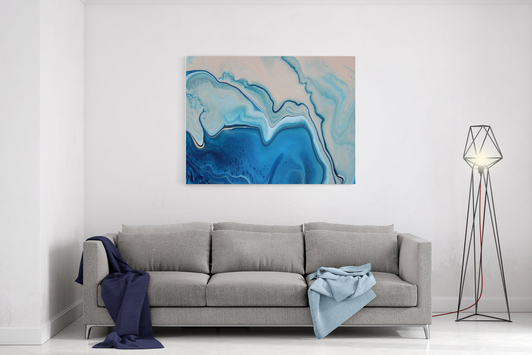 Blue Pink Pastel Marble Color Mix, Art Painting Canvas Wall Art Print