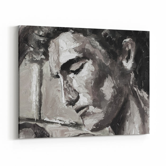 Black And White Abstract Head Portrait Original Oil Painting On Canvas Modern Impressionism Art Canvas Wall Art Print