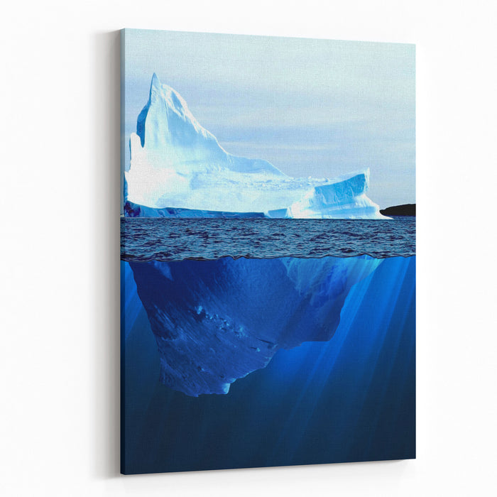 A Large Iceberg In The Cold Blue Cold Water Collage Canvas Wall Art Print