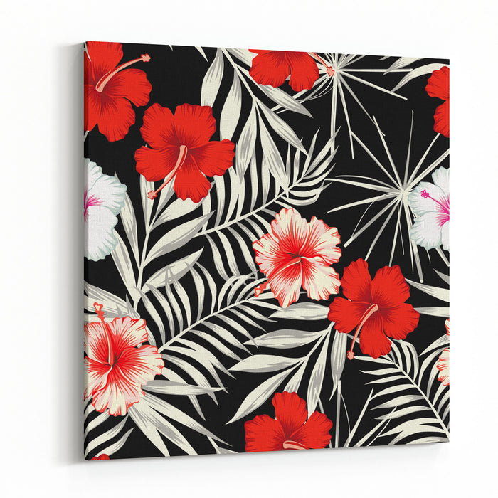 Red White Hibiscus Flowers On A Black And White Background Of Leaves
