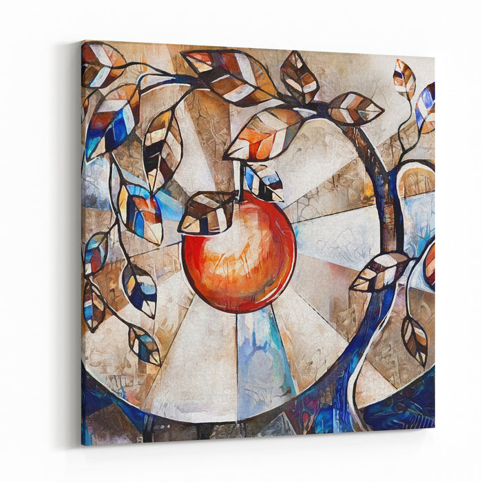 Oil Painting On Canvas, Stylized Tree And Apple Modern Artwork  Interior Illustration Abstract Background Canvas Wall Art Print