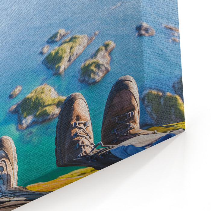Trekking Shoes On Feet Of Couple Of Travelers Hikers Sitting On Top Of The Mountain In Norway With The Beautiful View, Trekkers Selfy With Norwegian Landscape Canvas Wall Art Print