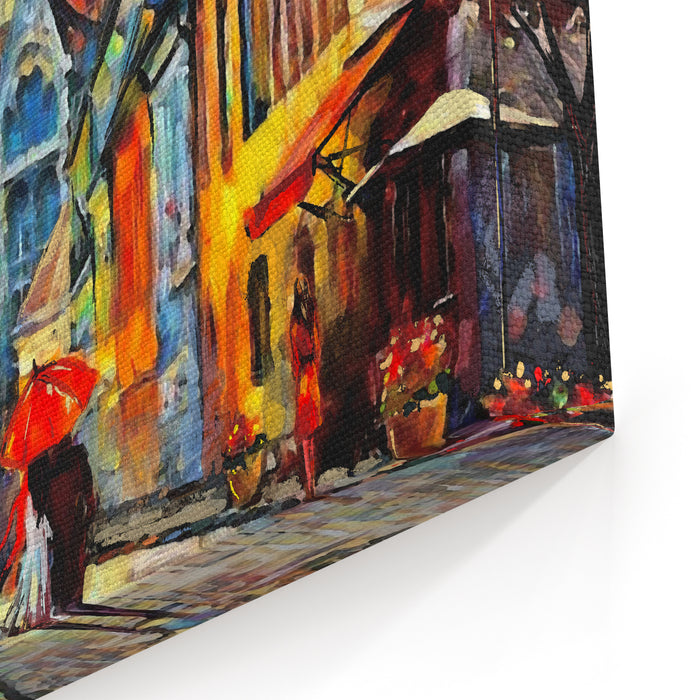 Oil Painting On Canvas European City Hungary Street View Of Budapest Artwork People Under A Red Umbrella Tree Canvas Wall Art Print