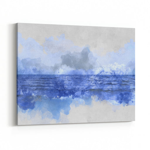 Beautiful Water Sea Soft Waves On Watercolor Painting Background, Watercolor Brush Background Canvas Wall Art Print