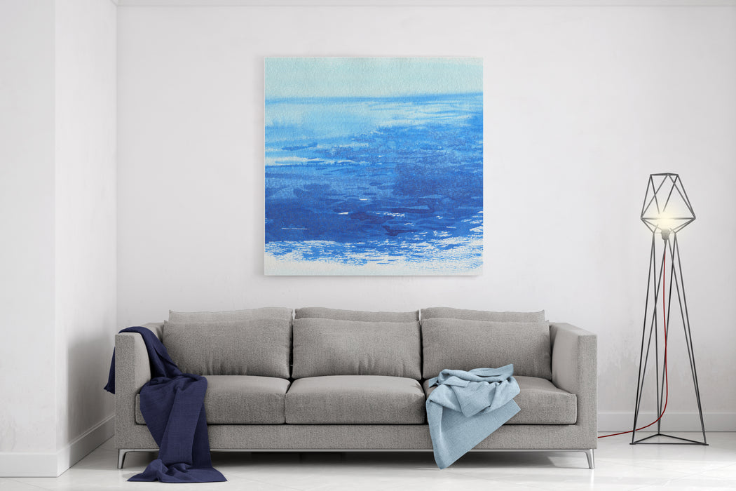 Watercolor Sea Background Hand Drawn Painting Summer Marine Landscape Canvas Wall Art Print