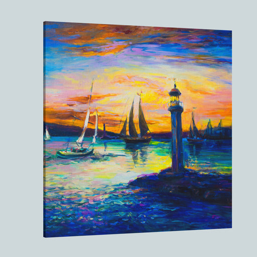 Oil Painting On Canvas Seascape Painting Of An Old Lighthouse Modern Art Canvas Wall Art Print