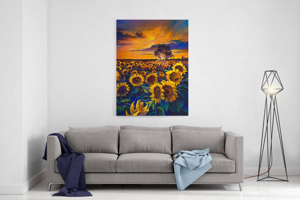 Oil Painting On Canvas Sunflower Field Modern Art Canvas Wall Art Print