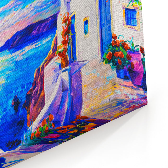 Oil Painting On Canvas White Houses With Boat Seascape Painting Modern Art Canvas Wall Art Print