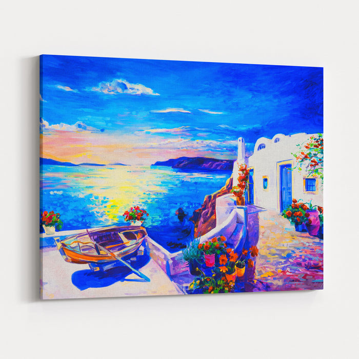 Oil Painting On Canvas White Houses With Boat Seascape Painting ...