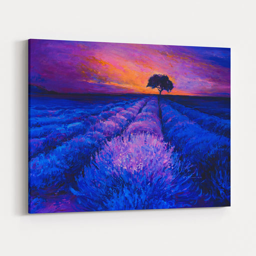 Oil Painting On Canvas Sunset Over Lavender Field  Modern Art Canvas Wall Art Print