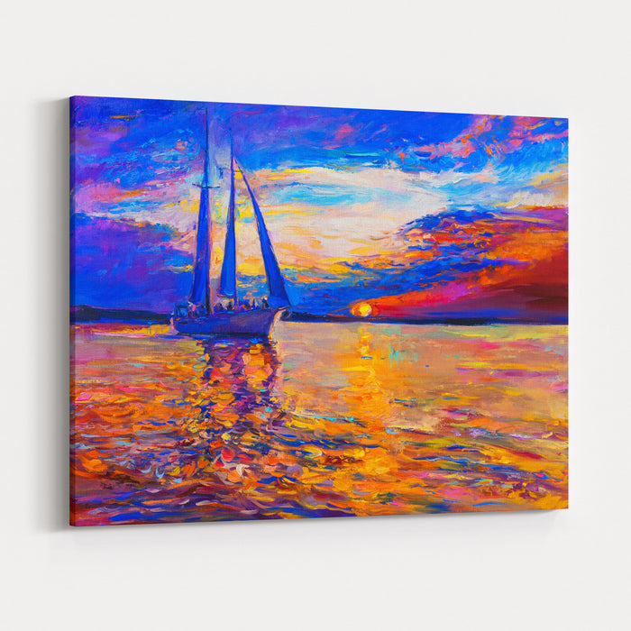 Oil Painting On Canvas Sunset Over The Sea And Sailboat Modern Art Canvas Wall Art Print