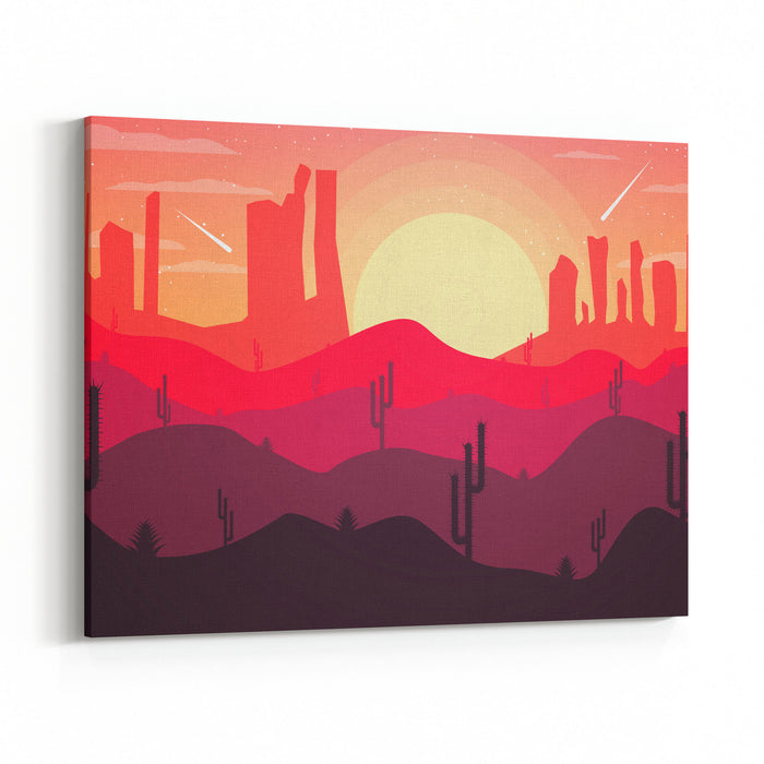 Landscape Design Of The Desert With Cacti Canvas Wall Art Print