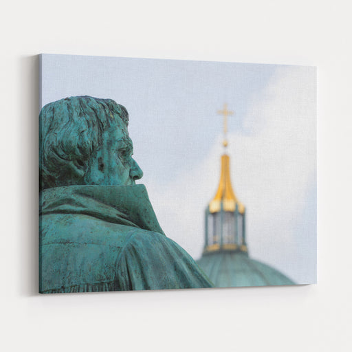 A Statue Of The Reformer Martin Luther Is In Berlin Germany Canvas Wall Art Print