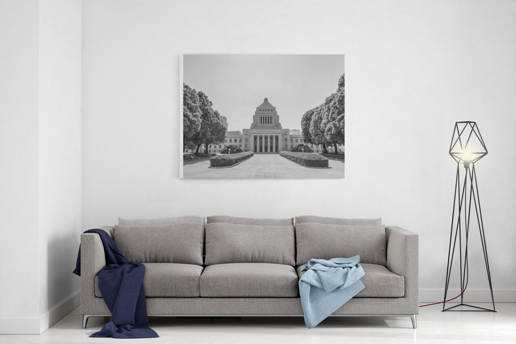 A Monochrome Image Of The Distinctive Granite Stone Tower With A Pyramidshaped Dome Of The National Diet Building Of Japan, The Seat Of The National Government In Tokyo Canvas Wall Art Print