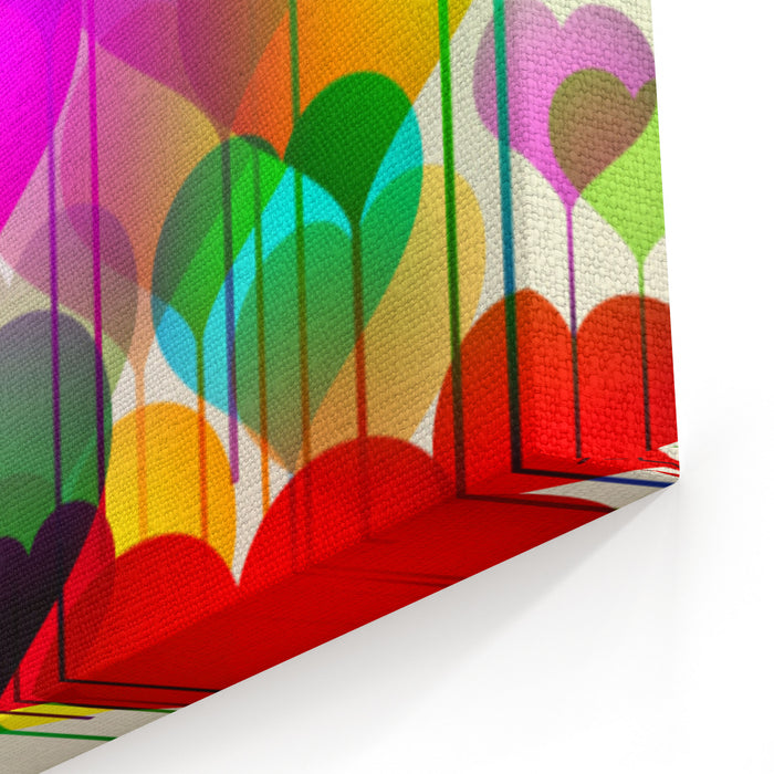 Abstract Colorful Stock Vector Valentines Day Background Canvas Wall Art Print