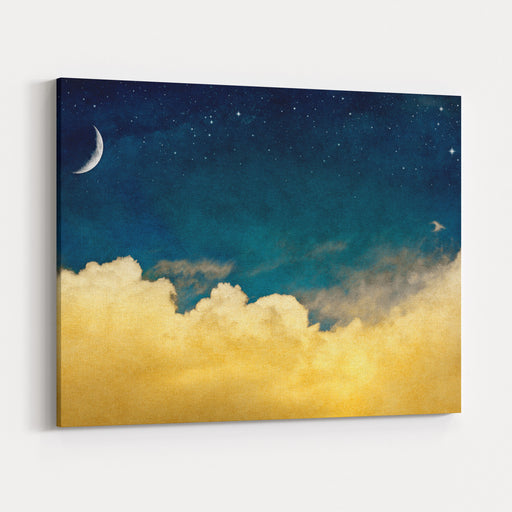 A Fantasy Cloudscape With Stars And A Crescent Moon Overlaid With A Vintage, Textured Watercolor Paper Background Canvas Wall Art Print
