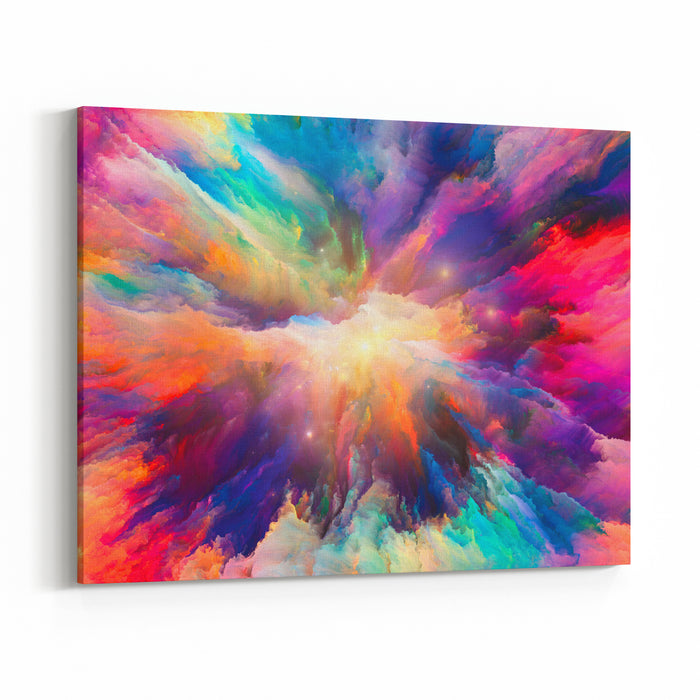 Color Explosion Series Background Design Of Fractal Paint And Rich Texture On The Subject Of Imagination, Creativity And Art Canvas Wall Art Print
