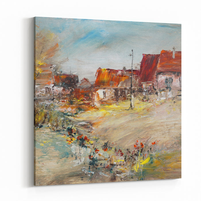 Flowers At An Old Village, Oil Painting Art Illustration Canvas Wall Art Print