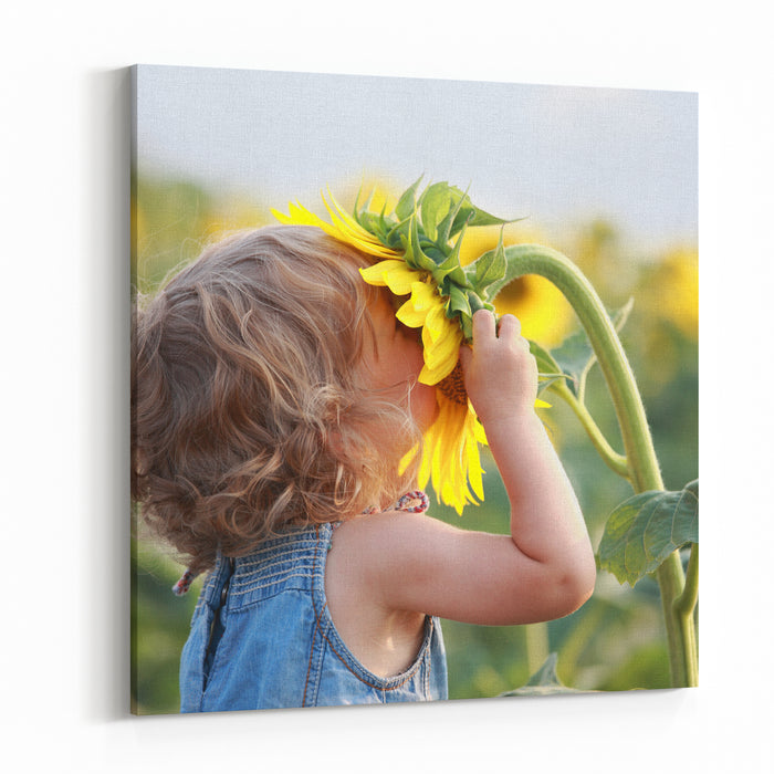 Cute Child With Sunflower In Summer Field Canvas Wall Art Print