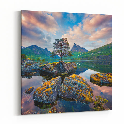 Fantastic Summer Sunrise On The Innerdalsvatna Lake Colorful Morning Scene In Norway, Europe Beauty Of Nature Concept Background Artistic Style Post Processed Photo Canvas Wall Art Print