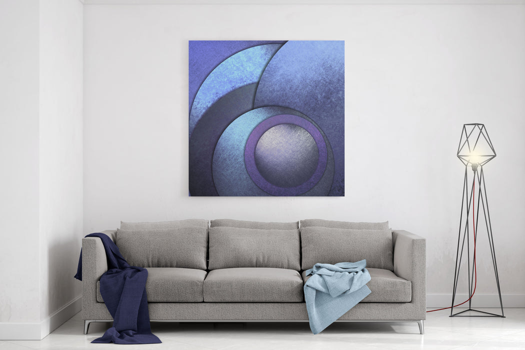 Blue Background Or Abstract Background With Graphic Art Design Layout Of Circles In Modern Art Design With Scratched Vintage Grunge Texture On Geometric Shapes Canvas Wall Art Print