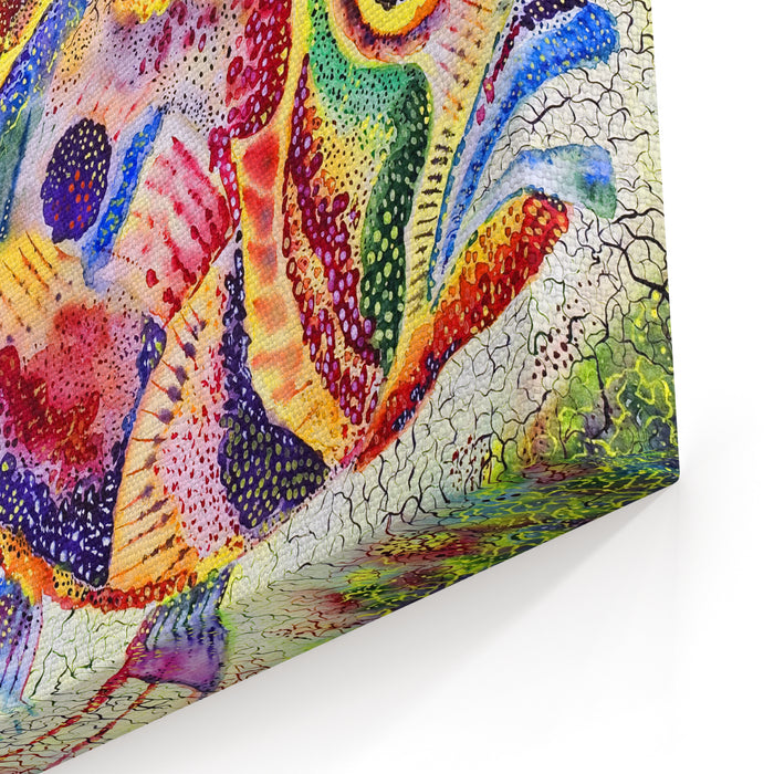 Fish Bright Stylized With A Huge Eye And Prickly Fins Drawn On A Water Color Paper Water Color Colors Canvas Wall Art Print