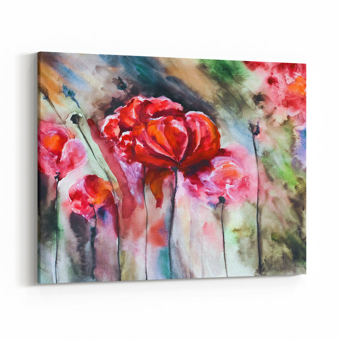 Blossoming Poppy And Poppy Buds Drawn By Water Color Color On A Water Color Paper Canvas Wall Art Print