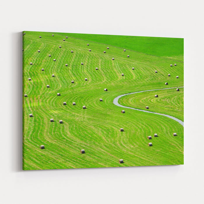 Bales Of Hay On Meadow Aerial View On Summer Landscape Canvas Wall Art Print
