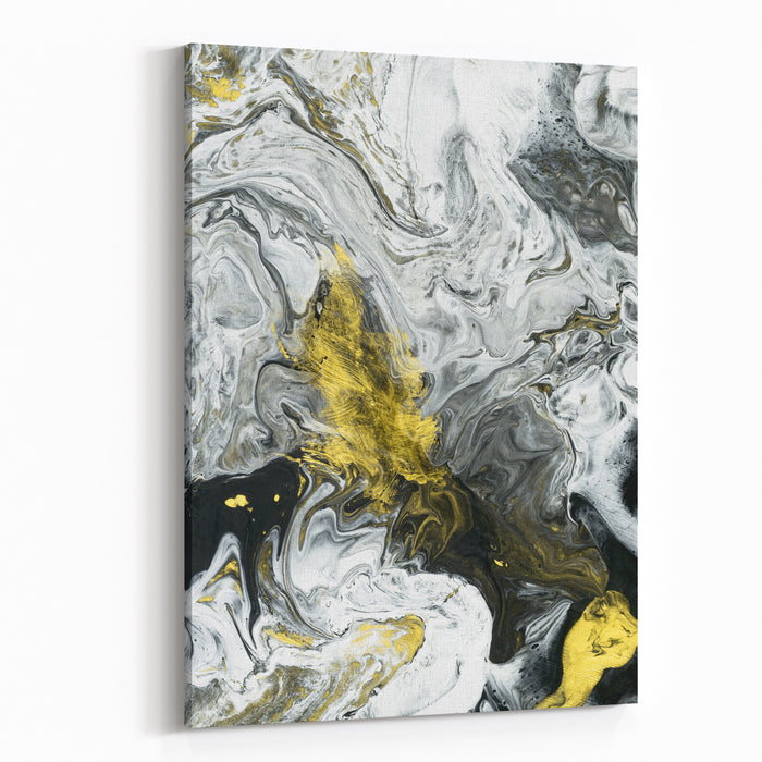 Abstract Hand Painted Black And White With Gold Background Closeup