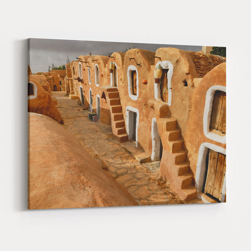 Tunisian Granery Old Ruins Of A Building, Ksar Ouled Debbab, Tataouine, Tunisia Starwars Film Shooting Place Canvas Wall Art Print