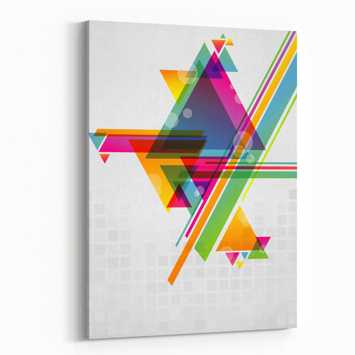 Abstract Geometric Shapes With Transparencies AI Canvas Wall Art Print