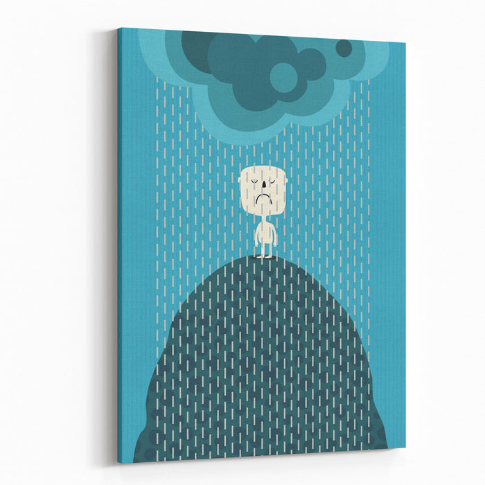 Angry Man In The Rain Canvas Wall Art Print
