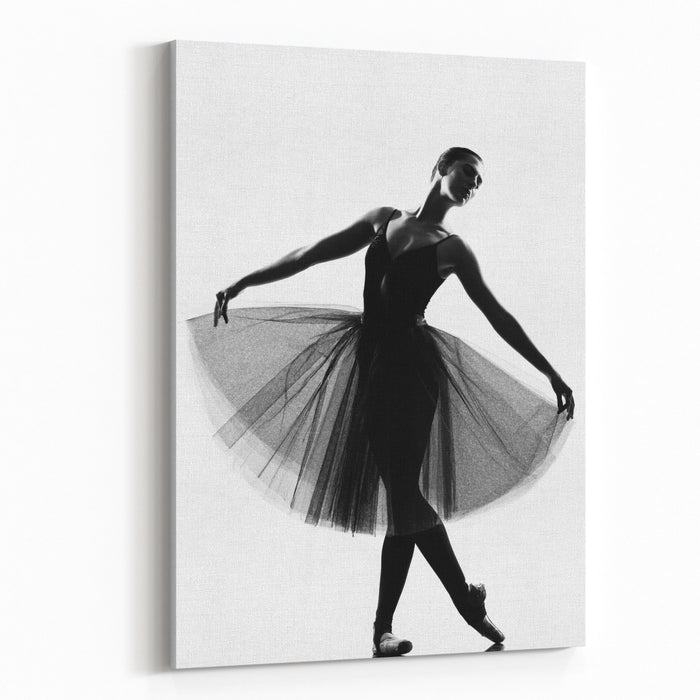 Beautiful Caucasian Tall Woman Ballet Dancer Standing Pose  Full Length On Studio Isolated White Background Canvas Wall Art Print