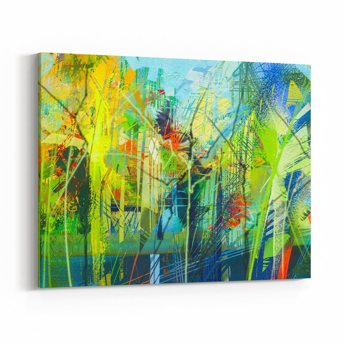 Abstract Colorful Oil Painting On Canvas Texture Hand Drawn Brush Stroke, Oil Color Paintings Background Modern Art Oil Paintings With Green, Red And Blue Abstract Contemporary Art For Background Canvas Wall Art Print