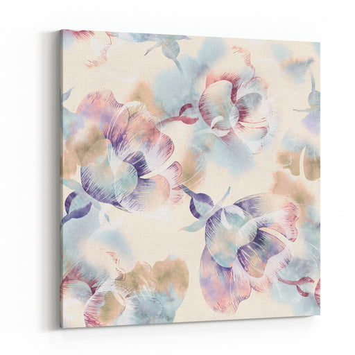 Summer Flowers Seamless Pattern Watercolor Background Canvas Wall Art Print