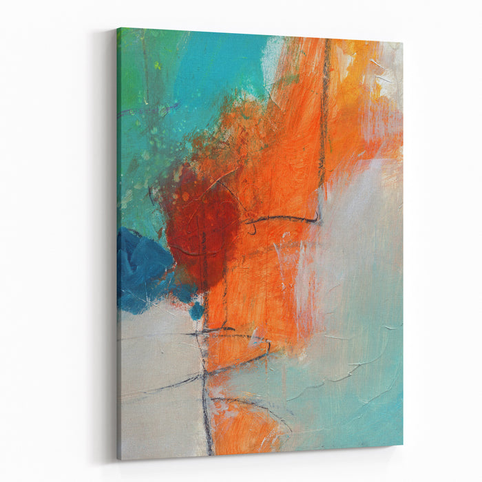 Textured Abstract Painting Hand Painted Colorful Background With Space For Text Canvas Wall Art Print