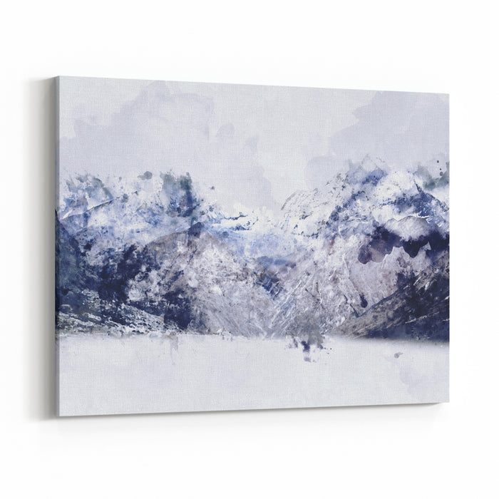 Mountain Peak In Winter Paining In Blue Tone On White Background,  Digital Watercolor Painting Canvas Wall Art Print