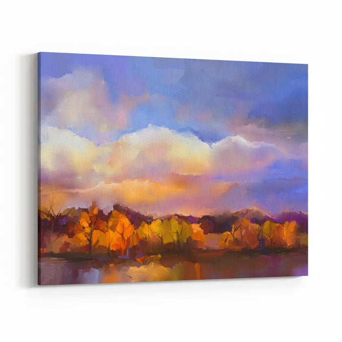 Abstract Oil Painting Landscape Colorful Yellow, Purple Sky Oil Painting Outdoor Landscape On Canvas Semi Abstract Tree, Hill And Field, Meadow Sunset, Fall Season Landscape Nature Background Canvas Wall Art Print