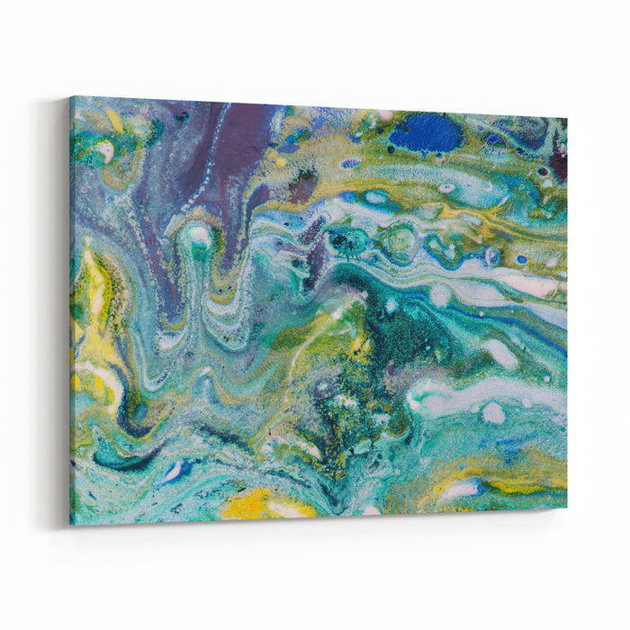 Turquoise Blue And Gold Ochre Free Flow Or Pour Style Painting Background Complex And Fine Atmospheric Patterns Wide Header Format Canvas Wall Art Print