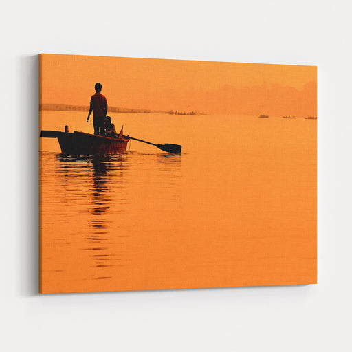 Two Boys In A Boat On The Ganges Canvas Wall Art Print