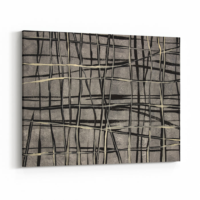 Contemporary, Abstract Painting Of Lines Shades Of Gray, Black, And Beige  Cream Paint On Canvas Large, Close Up Photo Canvas Wall Art Print