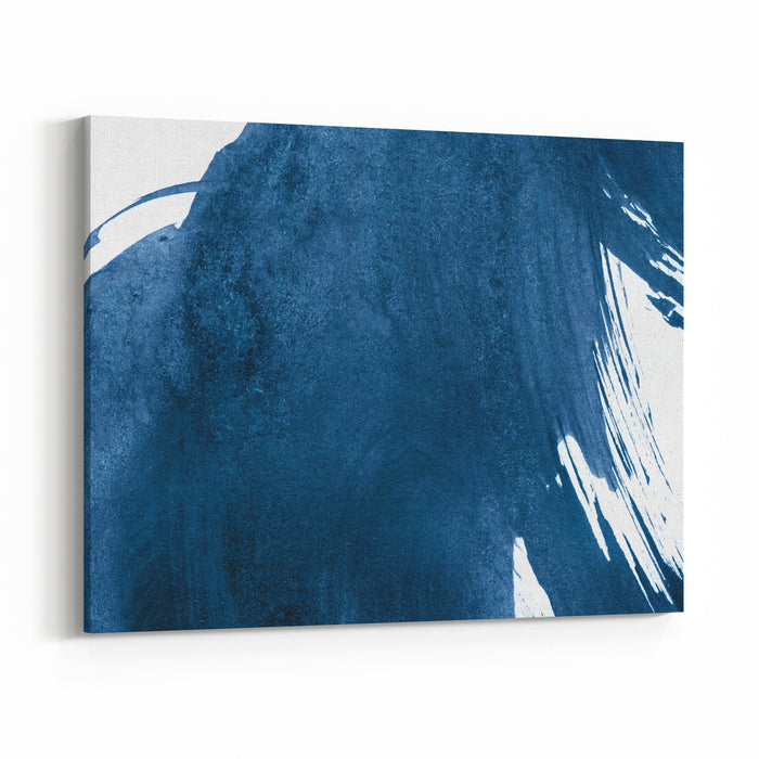 Blue Abstract Watercolor Stroke Design On Paper Canvas Wall Art Print