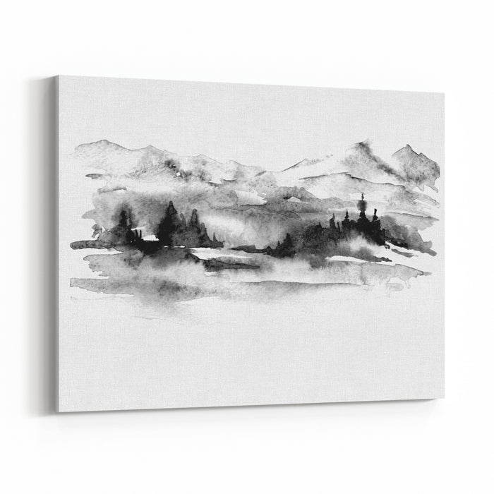 Watercolor Picture Of Mountains, Forest With Pine Trees, Fir, Cedar Abstract Vintage Spots Of Black, White On A White Background Postcard, Picture, Poster, Logo Canvas Wall Art Print
