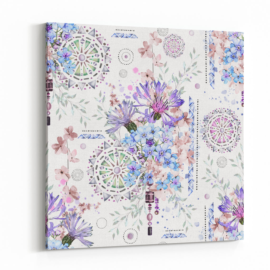 Seamless Pattern With Watercolor Flowers And Textured Ornaments
