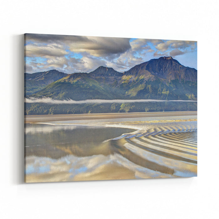 Alaska Bore Tide With Mountains In The Background Canvas Wall Art Print