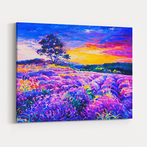 Original Oil Painting On Canvas Lavender Field With A Tree Modern Art Canvas Wall Art Print