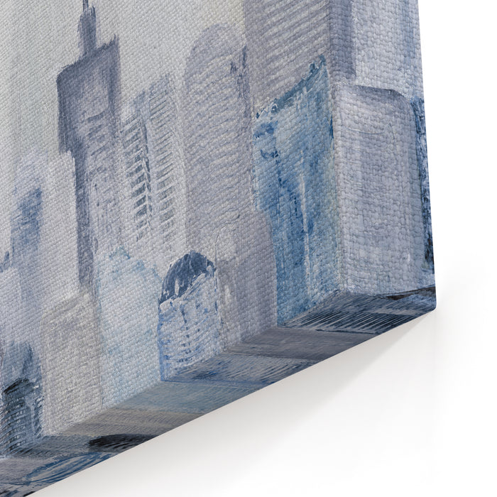 Abstract City Of Acrylic Painting On Canvas Creative Abstract Hand Painted Background, Texture, Wallpaper Fragment Of Artwork Modern Art Contemporary Art Canvas Wall Art Print